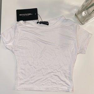 Basic white short sleeve crop t shirt